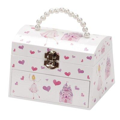 Schmucktasche Eleanor Princesss and Castle im Truhenstil mit Spieluhr | Kinderzimmer > Spielzeuge > Spieluhren | Weiß | Stoff | Mele&Co