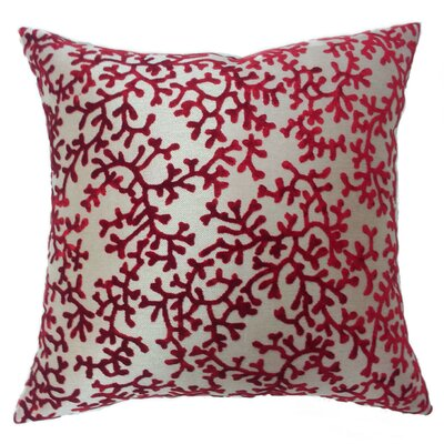Coral Throw Pillow Color: Burgundy