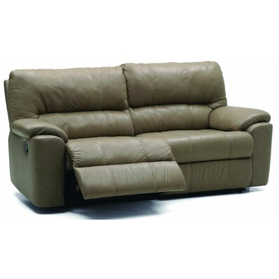 Yale Reclining Sofa Type: Manual, Upholstery: Bonded Leather - Champion Alabaster