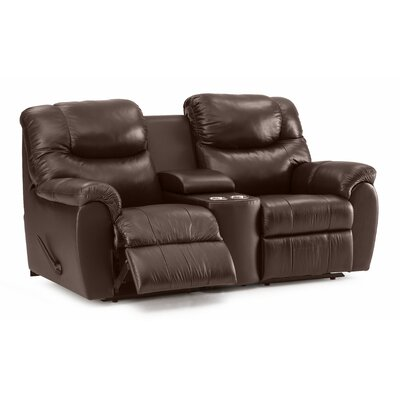 Regent Leather Reclining Sofa Type: Manual, Upholstery: Leather/PVC Match - Tulsa II Stone