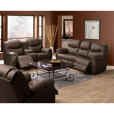 Regent Leather Reclining Sofa Type: Power, Upholstery: All Leather Protected - Tulsa II Dark Brown