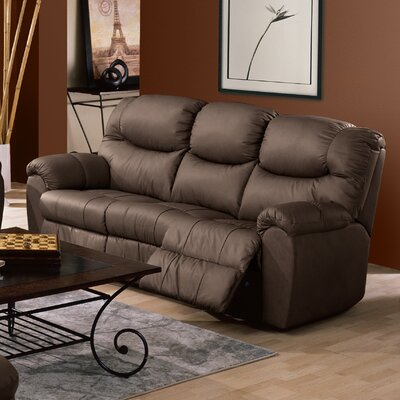 Regent Leather Reclining Sofa Type: Power, Upholstery: Bonded Leather - Champion Khaki