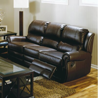 Luca Reclining Sofa Type: Manual, Upholstery: All Leather Protected - Tulsa II Jet