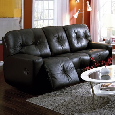 Mystique Leather Reclining Sofa Type: Power, Upholstery: Bonded Leather - Champion Alabaster