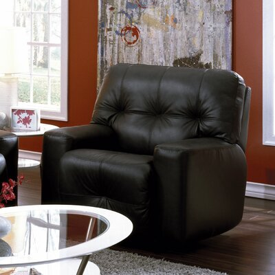 Mystique Leather Manual Rocker Recliner Reclining Type: Power, Upholstery: Leather/PVC Match - Tulsa II Chalk