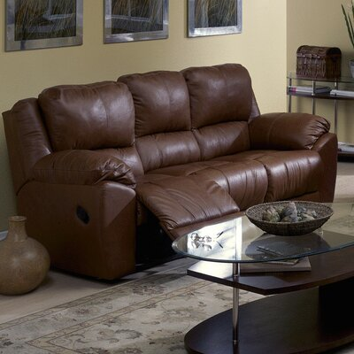 Benson Reclining Sofa Upholstery: Leather/PVC Match - Tulsa II Dark Brown, Type: Power