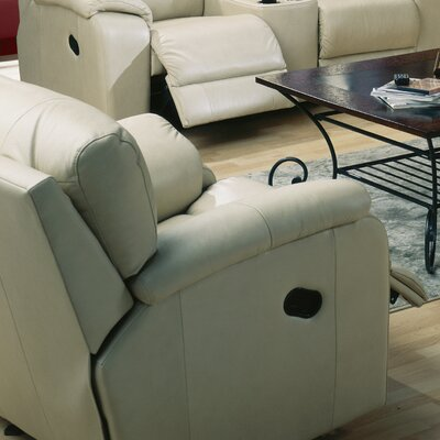 Shields Rocker Recliner Upholstery: Leather/PVC Match - Tulsa II Sand, Type: Power