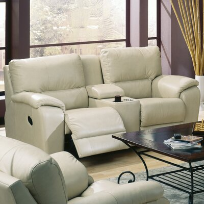 Shields Leather Reclining Sofa Type: Power, Upholstery: Leather/PVC Match - Tulsa II Stone