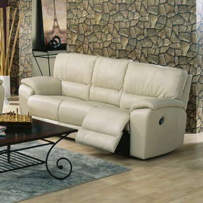 Shields Reclining Sofa Type: Power, Upholstery: Leather/PVC Match - Tulsa II Bisque