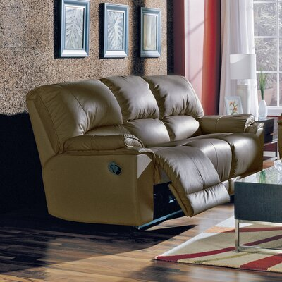 Brunswick Reclining Sofa Type: Manual, Upholstery: Leather/PVC Match - Tulsa II Dark Brown