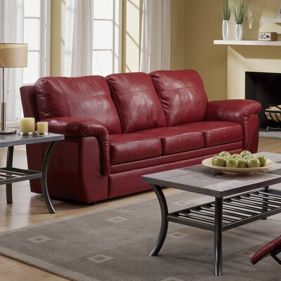 Brunswick Leather Sofa Upholstery: All Leather Protected  - Tulsa II Jet