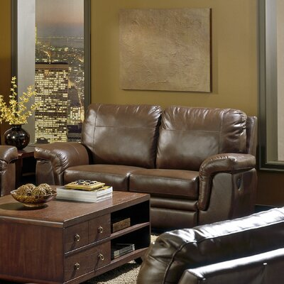 Brunswick Reclining Loveseat Motion Type: Manual, Upholstery: All Leather Protected - Tulsa II Dark Brown