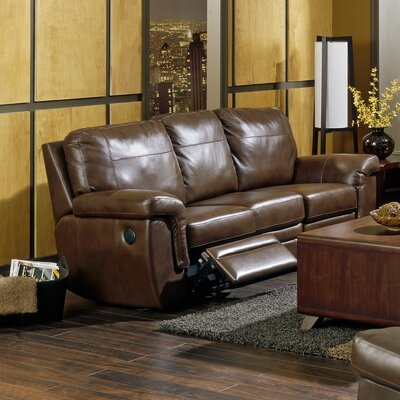 Brunswick Reclining Sofa Type: Power, Upholstery: All Leather Protected - Tulsa II Dark Brown