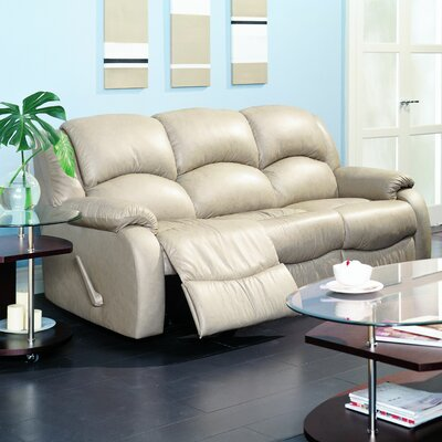 Dane Leather Reclining Sofa Type: Manual, Upholstery: Leather/PVC Match - Tulsa II Jet