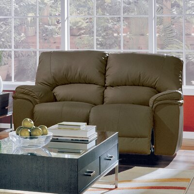 Dallin Reclining Loveseat Type: Manual, Upholstery: Leather/PVC Match - Tulsa II Dark Brown
