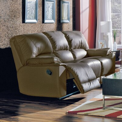 Dallin Leather Reclining Sofa Type: Manual, Upholstery: Leather/PVC Match - Tulsa II Chalk