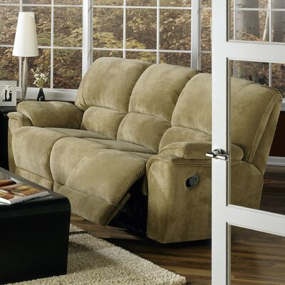 Dallin Leather Reclining Sofa Type: Manual, Upholstery: Leather/PVC Match - Tulsa II Stone