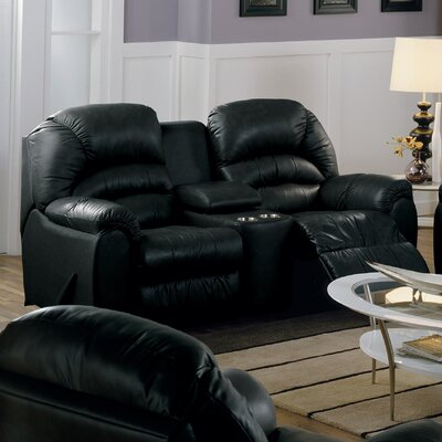 Taurus Reclining Loveseat Type: Manual, Upholstery: All Leather Protected - Tulsa II Jet