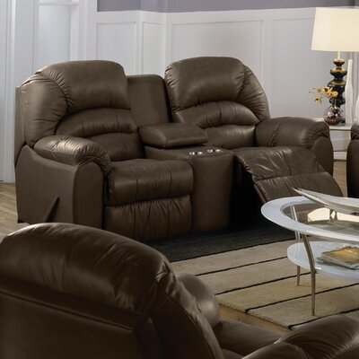 Taurus Reclining Loveseat Upholstery: Leather/PVC Match - Tulsa II Jet, Type: Power