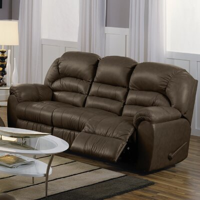 Taurus Leather Reclining Sofa Upholstery: All Leather Protected - Tulsa II Dark Brown, Type: Manual