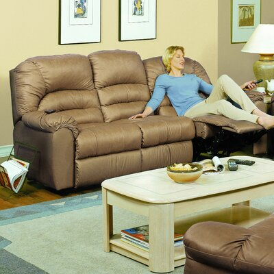 Taurus Leather Reclining Sofa Type: Manual, Upholstery: All Leather Protected - Tulsa II Sand
