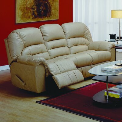 Taurus Leather Reclining Sofa Type: Manual, Upholstery: All Leather Protected - Tulsa II Chalk