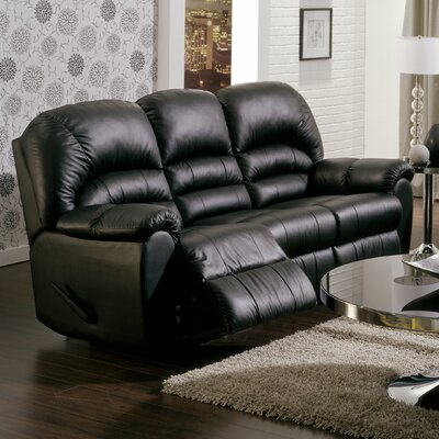 Taurus Leather Reclining Sofa Type: Power, Upholstery: All Leather Protected - Tulsa II Jet