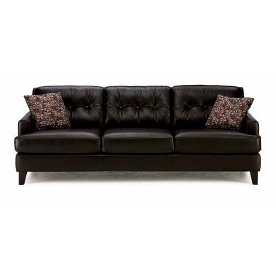 Barbara Leather Sofa Upholstery: All Leather Protected - Tulsa II Dark Brown, Leg Finish: Espresso