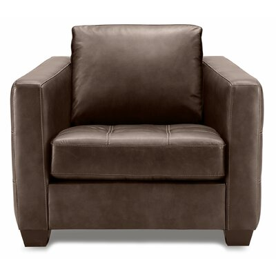 Barrett Arm Chair Finish: Stainless Steel, Upholstery: All Leather Protected - Tulsa II Dark Brown