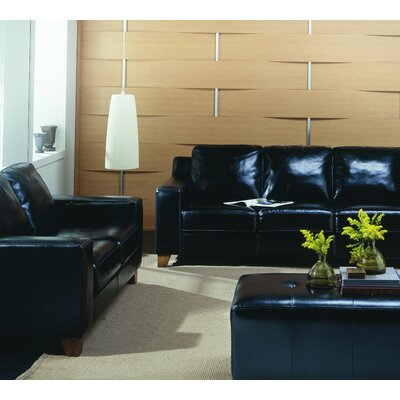 Reed Ottoman Upholstery: All Leather Protected - Tulsa II Jet, Hardware Finish: Espresso