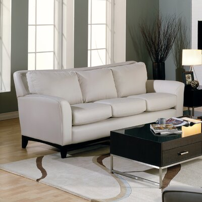 India Sofa Upholstery: Leather/PVC Match - Tulsa II Bisque, Leg Finish: Espresso