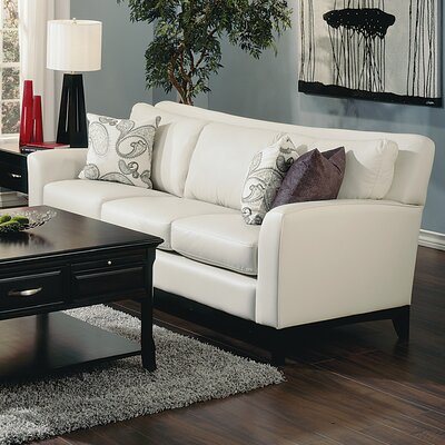India Sofa Upholstery: Leather/PVC Match - Tulsa II Chalk, Leg Finish: Espresso