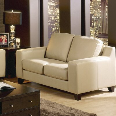 Reed Loveseat Upholstery: Leather/PVC Match - Tulsa II Stone, Leg Finish: Espresso