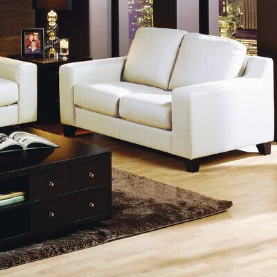 Reed Loveseat Upholstery: Leather/PVC Match - Tulsa II Chalk, Leg Finish: Espresso