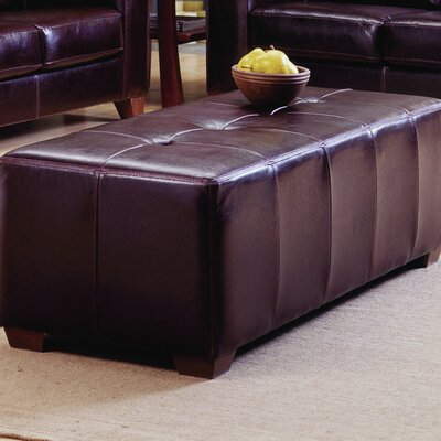 Reed Ottoman Upholstery: All Leather Protected - Tulsa II Sand, Hardware Finish: Espresso