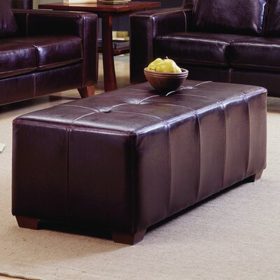 Reed Ottoman Upholstery: Leather/PVC Match - Tulsa II Dark Brown, Hardware Finish: Espresso
