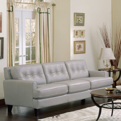 Barbara Leather Sofa Upholstery: Bonded Leather - Champion Alabaster, Leg Finish: Espresso