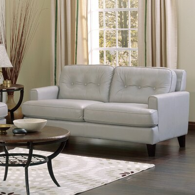 Barbara Leather Loveseat Upholstery: Bonded Leather - Champion Alabaster, Leg Finish: Espresso