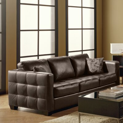 Barrett Leather Sofa Upholstery: Bonded Leather - Champion Granite, Leg Finish: Espresso