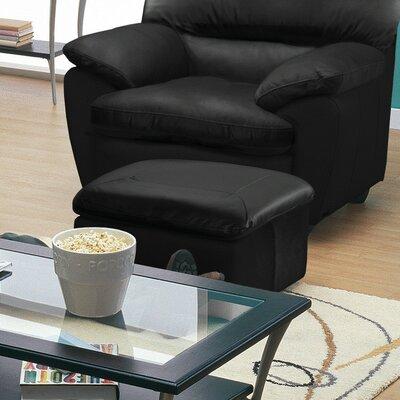 Harley Ottoman Upholstery: Leather/PVC Match - Tulsa II Jet, Leg Finish: Espresso