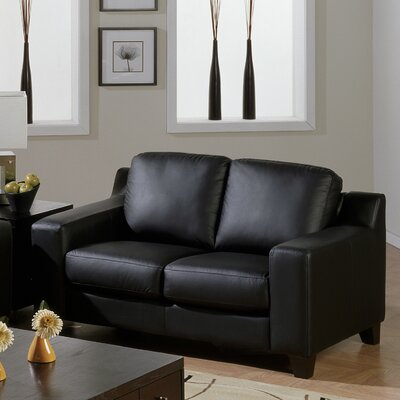 Reed Loveseat Upholstery: Bonded Leather - Champion Alabaster, Leg Finish: Espresso