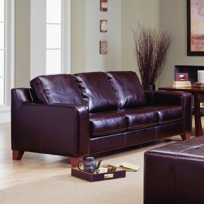 Reed Sofa Upholstery: Bonded Leather - Champion Mink, Leg Finish: Espresso