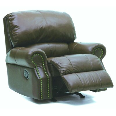 Charleston Rocker Recliner Type: Manual, Upholstery: All Leather Protected - Tulsa II Jet
