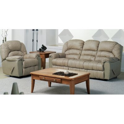 Taurus Leather Reclining Sofa Type: Manual, Upholstery: Leather/PVC Match - Tulsa II Chalk
