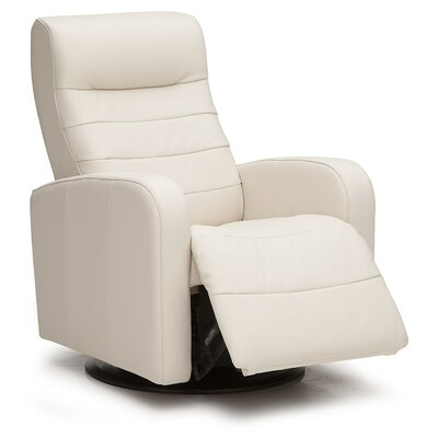 Riding Mountain Swivel Glider Recliner Upholstery: All Leather Protected - Tulsa II Jet, Type: Power