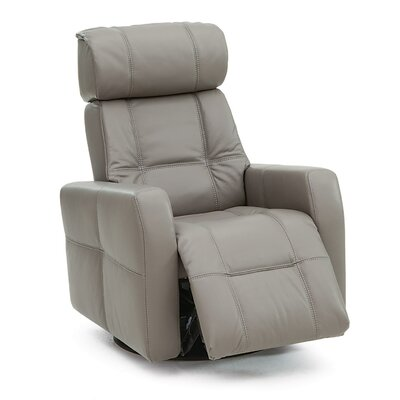 Myrtle Beach Swivel Glider Recliner Type: Power, Upholstery: Leather/PVC Match - Tulsa II Stone