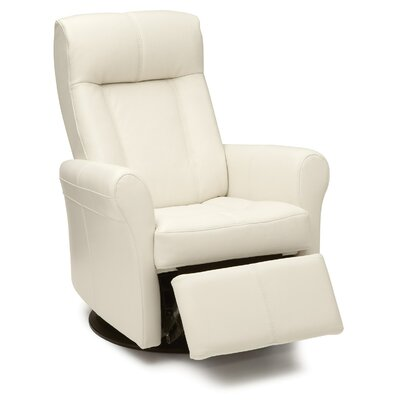 Yellowstone Swivel Glider Recliner Type: Power, Upholstery: Leather/PVC Match - Tulsa II Chalk