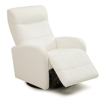 Valley Forge II Swivel Glider Recliner Type: Power, Upholstery: All Leather Protected - Tulsa II Jet