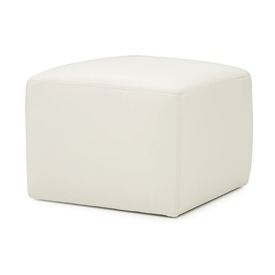 Square Pop Ottoman Upholstery: Bonded Leather - Champion Alabaster