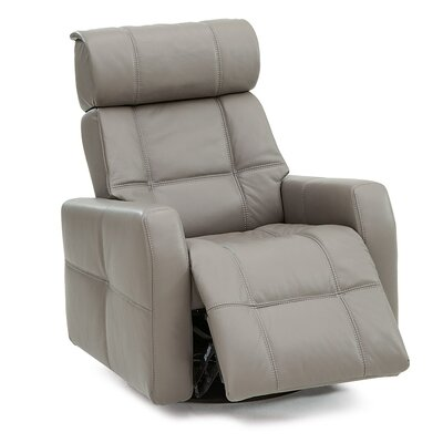 Myrtle Beach II Swivel Glider Recliner Upholstery: Leather/PVC Match - Tulsa II Chalk, Type: Power